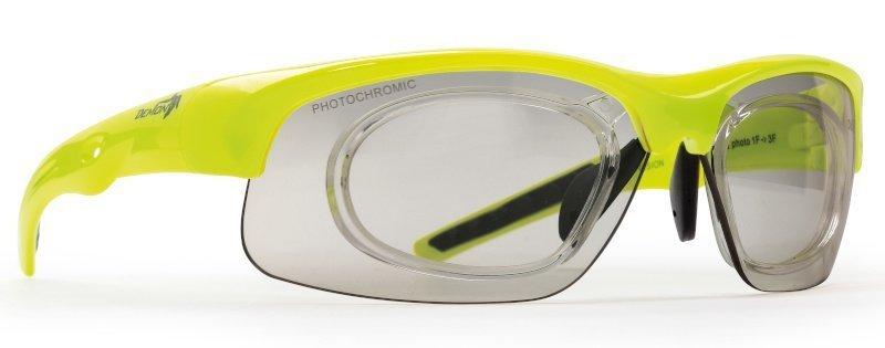 occhiale da vista per mtb con clip ottico giallo fluo