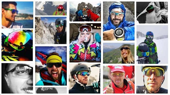 atleti indossano occhiali sportivi durante selfie