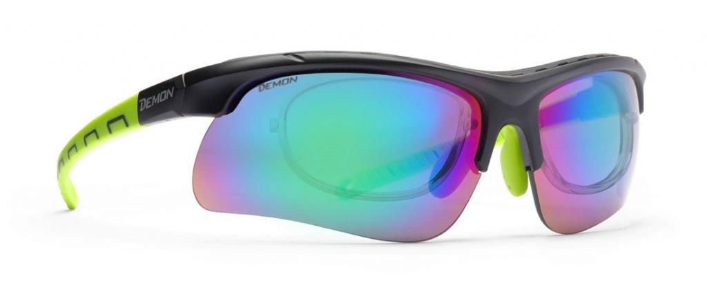 Occhiale sportivo con clip vista per il kayak con lenti specchiate intercambiabili modello INFINITE OPTIC RX