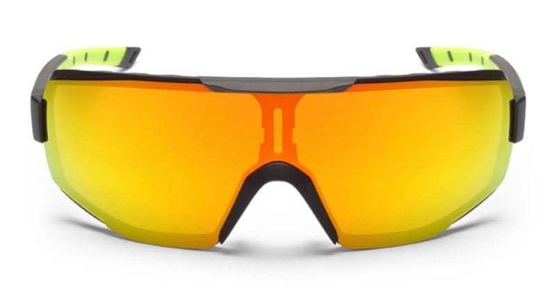 occhiali da ciclismo per bici da corsa monolente a mascherina modello performance lente specchiata nero