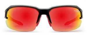 Occhiali da triathlon con lenti specchiate rosse modello tiger nero opaco rosso