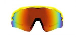 Occhiali per triathlon per ciclismo monolente specchiata giallo fluo