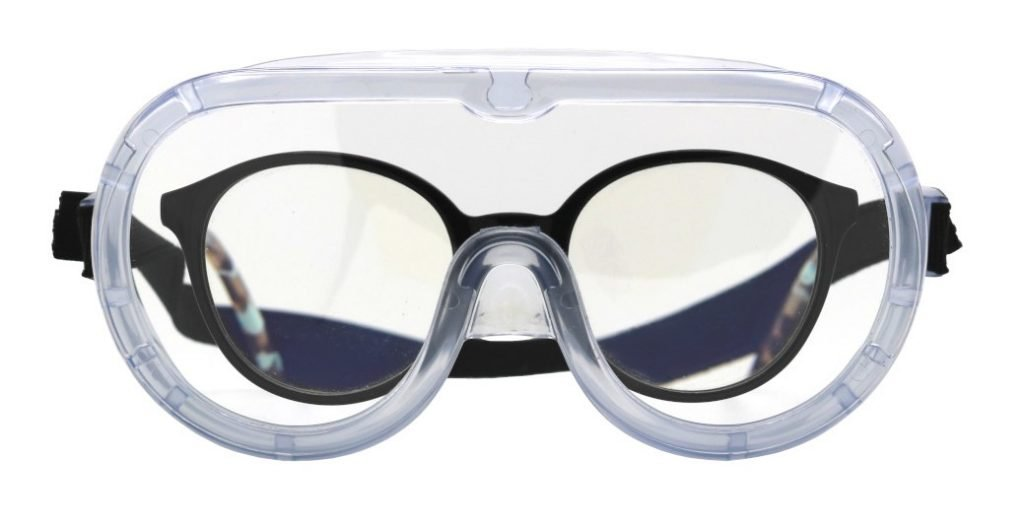 DPI protezione occhi a mascherina utilizzabile con occhiali da vista